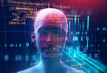 Wall Mural - 3d rendering of human  on geometric element technology background