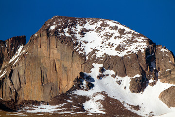 Long's Peak in Rocky Mountain National Park, photographed from the ground with a 500mm prime Canon lens