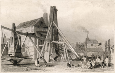 Copper mine at Colcoath  Camborne  Cornwall. Date: circa 1830