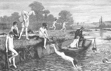 Boys bathing in the River Thames. Date: 1873