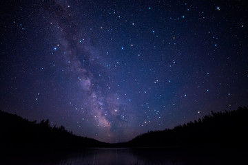Clear Shot of Milky Way over lake with trees and twinkling stars