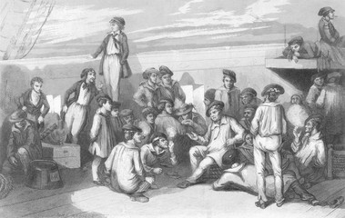 French Sailors Off-Duty. Date: circa 1830