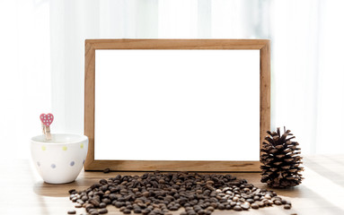 Blank white board with coffee mug and coffee bean decoration