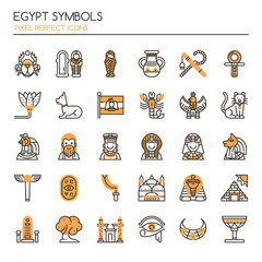 Egypt Symbols , Thin Line and Pixel Perfect Icons.