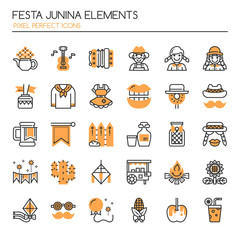 Festa Junina Elements , Thin Line and Pixel Perfect Icons.