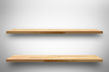 Double wooden shelves on white gray gradient background