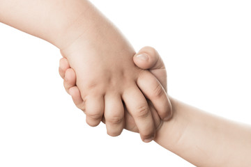 Two children's hand on a white background