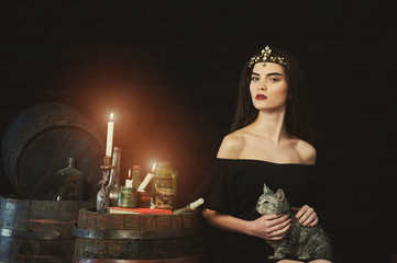 stylish girl with cat, vintage portrait on a dark background . The style of Halloween