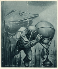 Lake Submarine - Diver. Date: 1915
