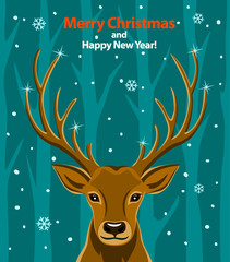 Merry Christmas and Happy New Year seasonal winter greeting card with deer in snow and forest background