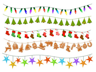 Celebration Christmas New Years Birthdays and other events garlands, led lights bulbs lamps, patch stylized geometric green xmas trees, gingerbread cookies, paper stars and socks