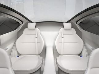 Rear seat of autonomous car. 3D rendering image.