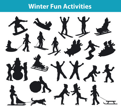 Children's Winter fun activities on ice and snow silhouette set collection, kids palying snowballs, making snowman, sledding downhill, rolling snow, skating, snowboarding, skiing, lying on snow
