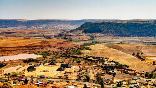 Aerial view to Thaba Bosiu Cultural Village near Maseru in Lesotho