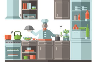 The chef is in the kitchen of the restaurant. A cook is standing by the stove and is preparing food. Vector illustration in flat style, isolated on white background.