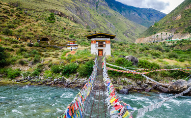 Iron Chain Bridge of Tachog Lhakhang Monastery, Paro River, Bhutan