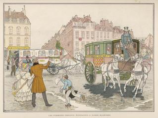 First Paris Omnibuses. Date: circa 1830