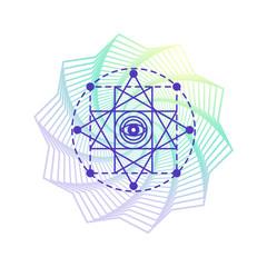 Sacred geometry alchemy symbol, isolated on white with flower mandala gradient shape