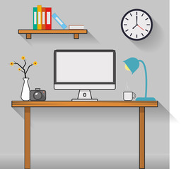 Interior office room design with computer and accessory in the room.vector and illustration
