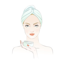 Beautiful girl during beauty ritual, apply cream. Vector hand drawn illustration.