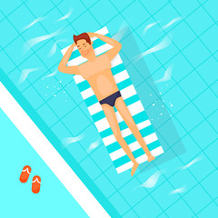 Man swimming on inflatable floats in the pool. Summer, vacation. Flat vector illustration in cartoon style.