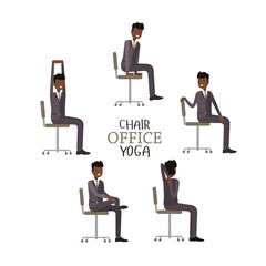 Office chair yoga. Corporate workout vector illustration on white isolated background. Business man stretching on a work place.