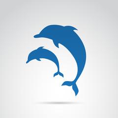 Dolphin, fish vector icon.