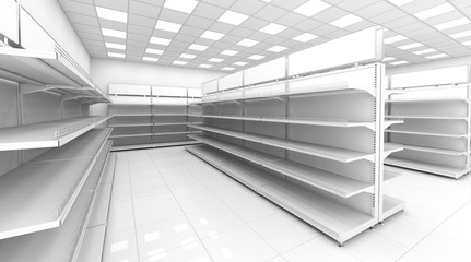 The interior of the store with empty shelves for goods. 3d image