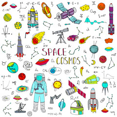 Hand drawn doodle Space and Cosmos set. Vector illustration. Universe icons. Rocket, Space ship Symbols collection. Solar system, Planets, Galaxy, Milky Way, Astronaut. Tech freehand elements.