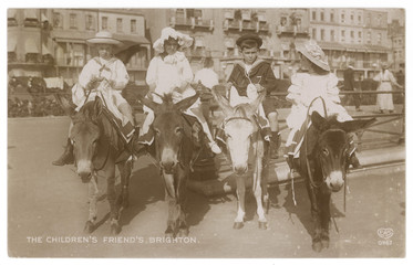 Donkeys at Brighton. Date: 1912