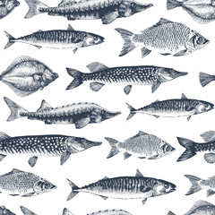 Fish vector seamless pattern for restaurants, emblem, vector image. Retro illustration