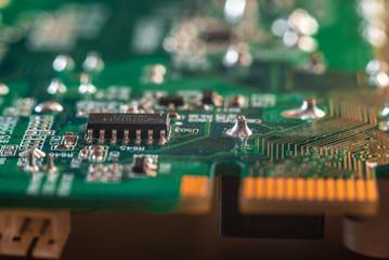 Hi tech computer chip close up