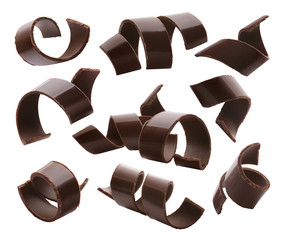 Chocolate curls set 1 isolated