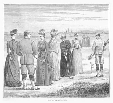 Golf at St Andrews 1889. Date: 1889