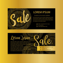 Golden banners. Gold text. Gift, luxury, card, vip exclusive certificate privilege voucher store present shopping sale
