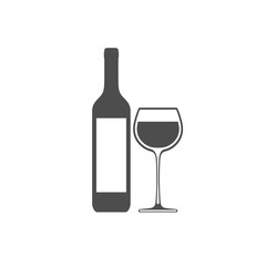 Wine bottle with wineglass vector icon isolated