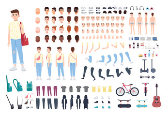 Teenager character constructor. Boy creation set. Different postures, hairstyle, face, legs, hands, clothes, accessories collection. Vector cartoon illustration. Front, side, back view.