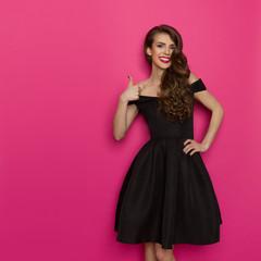 Elegant Fashion Model Showing Thumb Up