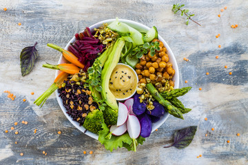 Buddha bowl, healthy and balanced food.