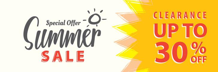 Summer Sale set V.5 30 percent heading design for banner or poster. Sale and Discounts Concept. Vector illustration.