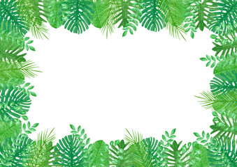 Tropical Leaves Watercolor Edges Border Background Template