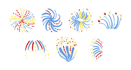 Vector icon of various fireworks against white background