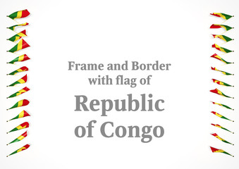 Frame and border with flag of Republic of Congo. 3d illustration