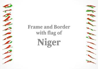 Frame and border with flag of Niger. 3d illustration
