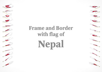 Frame and border with flag of Nepal. 3d illustration