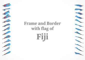 Frame and border with flag of Fiji. 3d illustration