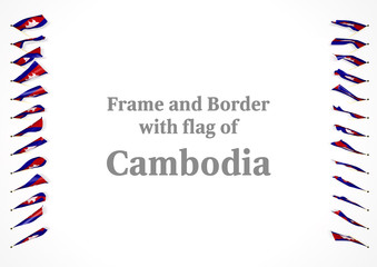 Frame and border with flag of Cambodia. 3d illustration