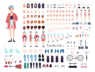 Teenager character constructor. Young trendy girl creation set. Different postures, hairstyle, face, legs, hands, clothes, accessories collection. Vector cartoon illustration. Front, side, back view.