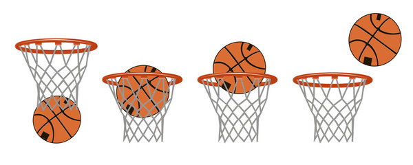 Set basketball images. Stages of hitting the ball in the basket. Vector