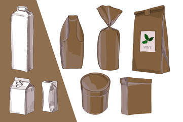 illustration of Hand drawn, drawing package, bag all types for food. Brown Packing box, bottle, milk, sweet, paper bag. Template for your design.